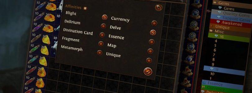 Path of Exile añade las carpetas y la distribución automática con las pestañas afines